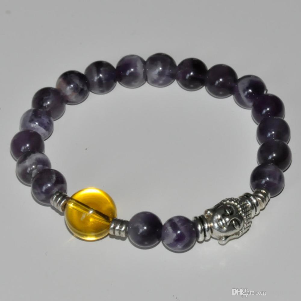 SN0221 Novo Design Buddha Pulseira Ametista pulseira citrino mala budista tibetano pulseira contas de oração coroa chakra pulseiras