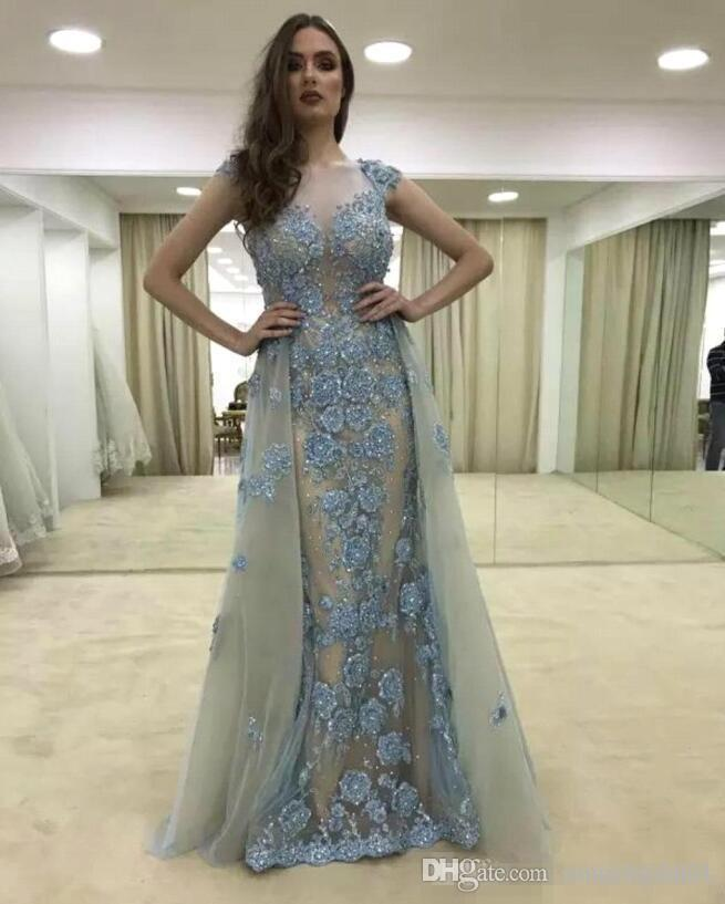 2018 Sexy Lace Capped Sleeve Mermaid Prom Dress Detachable Removable Skirt Floral Beads Long Evening Gowns