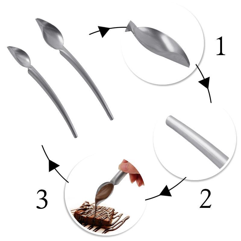 2 pçs / set aço inoxidável colher de chocolate bolo fondant de sorvete de chocolate sobremesa decoração colher de cozinha diy ferramentas de cozimento