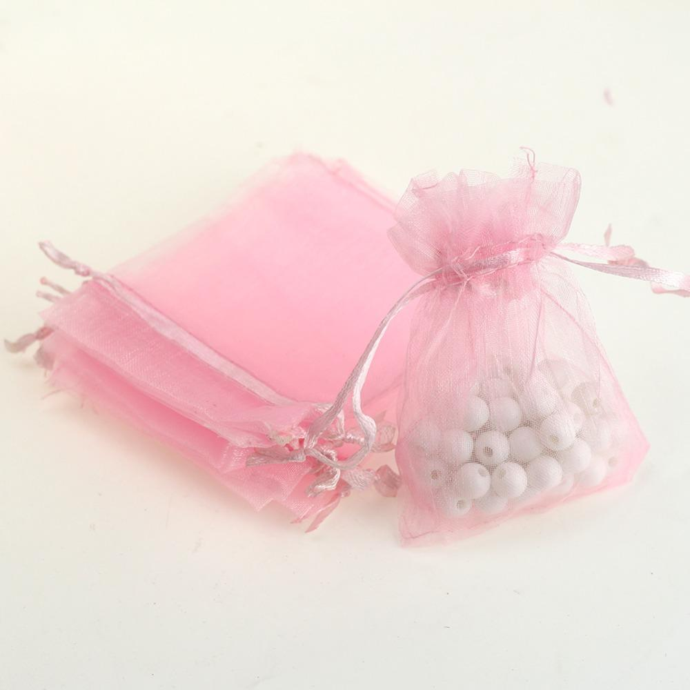 2018 7x9cm Pink Organza Jewelry Bags Cheap Organza Pouches Small ...