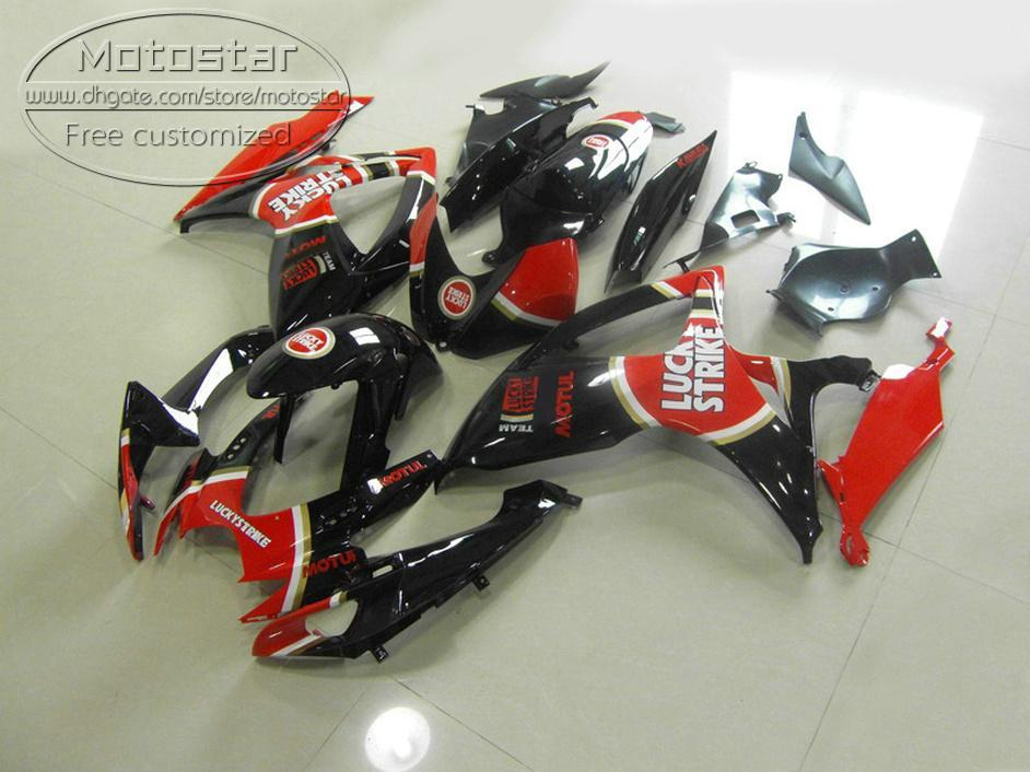 Kunststoffverkleidungsset für Suzuki GSX-R600 GSX-R750 06 07 K6-Verkleidungen GSXR 600/750 2006 2007 Red Black Lucky Strike Bodywork Set V9F