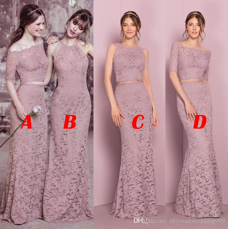 be44690c32 Best Selling Two Piece Long Full Lace Bridesmaid Dresses 2018 Formal Party  Prom Dresses Wedding Guest Dresses Childrens Bridesmaid Dresses Country ...