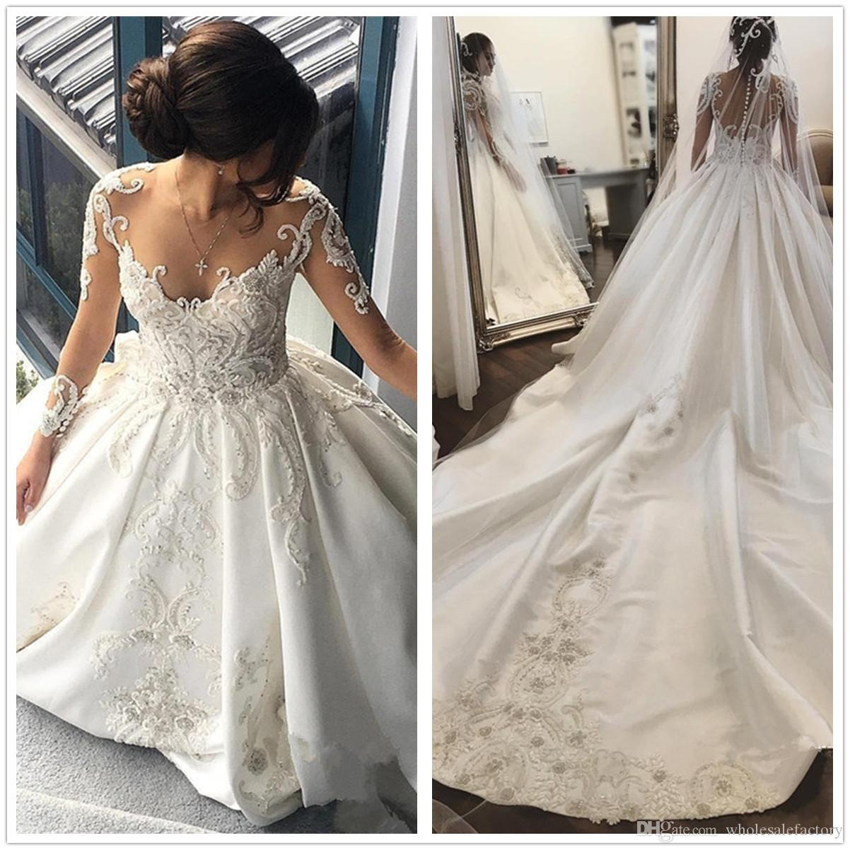 2018 Sheer Long Sleeves Satin Ball Gown Wedding Dresses Lace ...