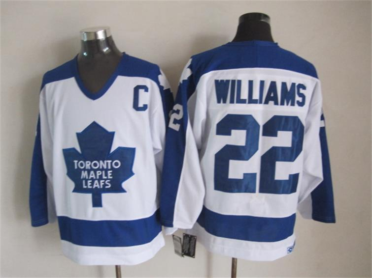Top Quality 1978 Homens Toronto Maple Leafs Hóquei No Gelo Jerseys 22 Tigre Williams Retro Vintage CCM Autêntico Costurado Jerseys Ordem Mix!
