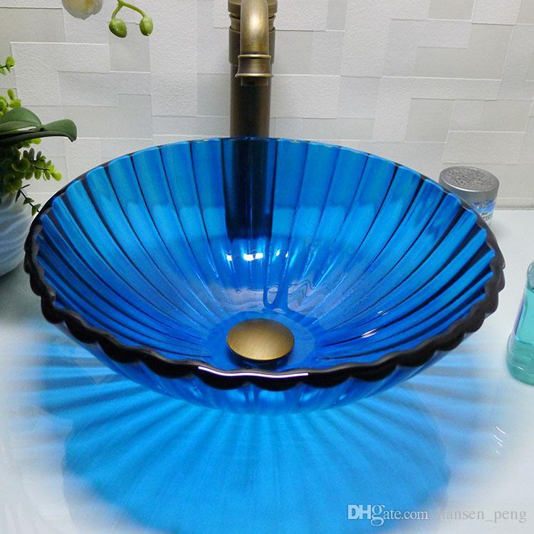 Ванная комната раковина из закаленного стекла столешница ручной работы круглая раковина умывальники гардероб шампунь чаша для посуды HX013