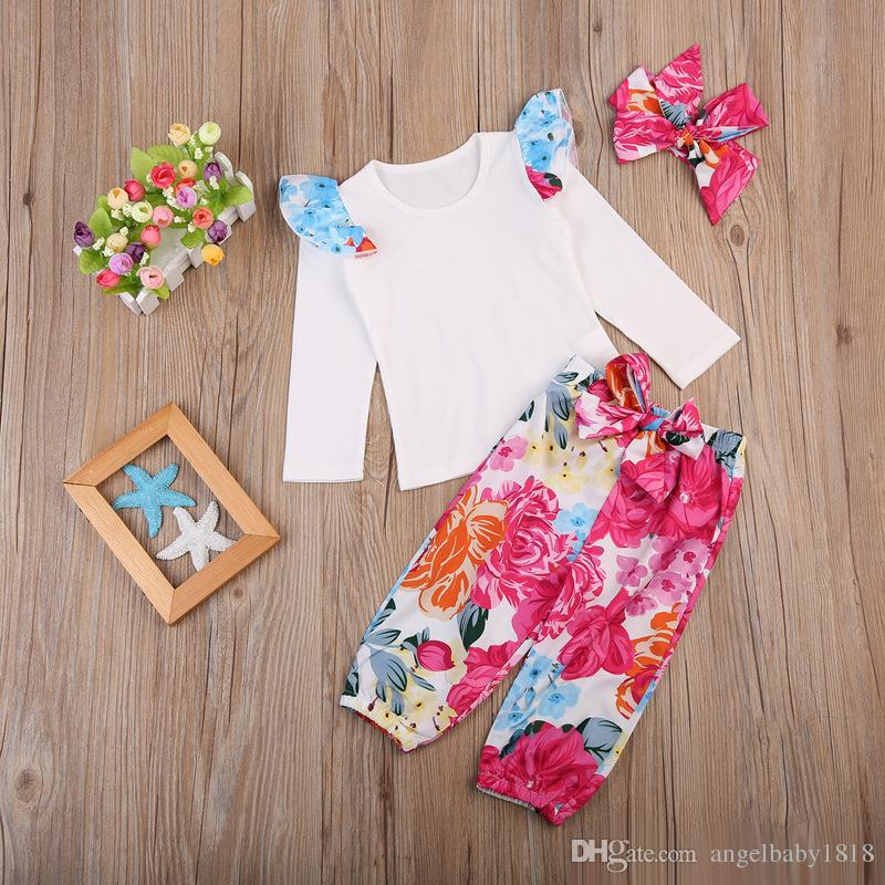 2edfe5157f561 Cute Baby Kids Girls Clothes Floral T-shirt Tops + Flower Leggings + Hair  Bows Outfit Sets Fall Children Girls Clothing Set Girl Clothes 3piece Suits  Online ...