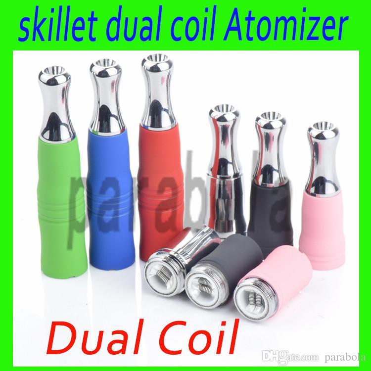 Skillet vaporizador 510 cera atomizador dual bobina de cerâmica atomizador bobina de substituição cabeça frigideira ego d cera atomizador vaporizador de haste de cerâmica dupla
