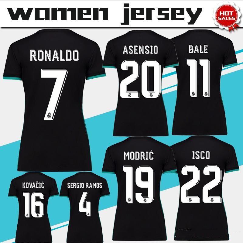 Mujeres Madrid Real Lejos Negro Soccer Jersey 17 18 Real Madrid Femenino  Soccer Shirt 2018 Personalizado   7 RONALDO ISCO Girl Fútbol Uniforme Venta  Por ... 1432a13daa5ea