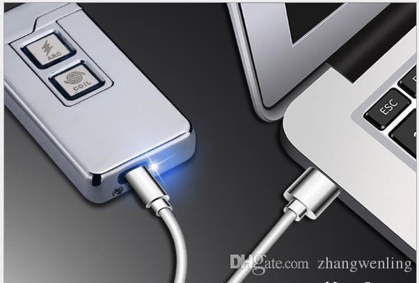 Yeni Sıcak satış Çift amaçlı Ateşleme Indüksiyon Dokunmatik Rüzgar Geçirmez Plazma Çakmak USB Darbe Elektronik Şarj Edilebilir Çakmak 1688