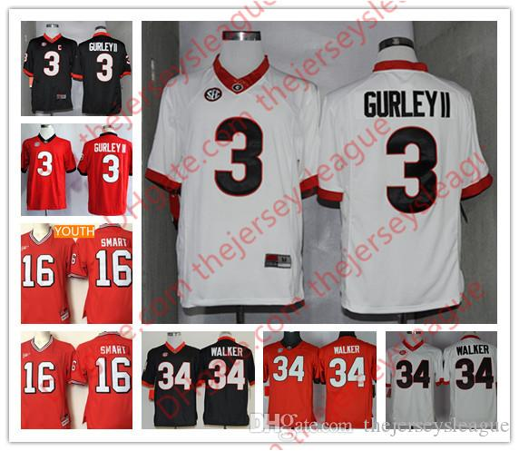 2019 NCAA Georgia Bulldogs Mens Youth Retro  16 Kirby Smart 3 Todd Gurley  II 34 Herschel Walker Kids White Red College Sitched Jerseys From  Thejerseysleague ... 4ee1a8c2e