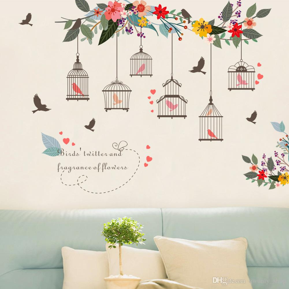 Colorful Flower Birds Birdcage Wall Sticker Decals Wall Art For Home Living Room Bedroom TV Background Garden Window Décor