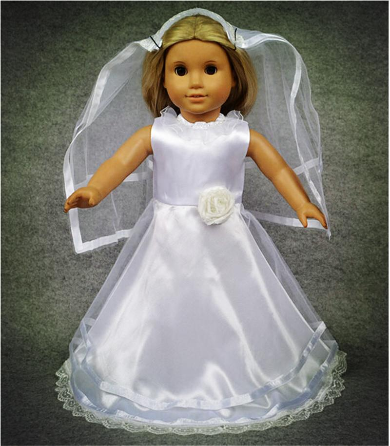 American Doll Wedding Dress | 2015 Romantic Wedding Dress Clothing For Dolls Mini White Color