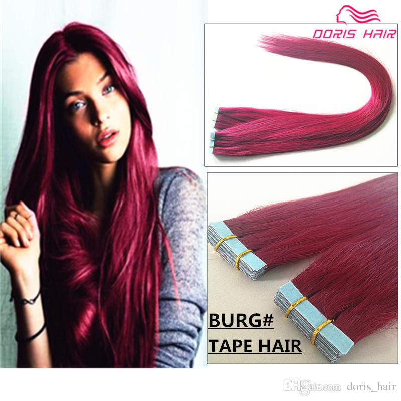50 Off Free Dhl Burg Tape Hair Extensions 7a Remy Hair Tangle