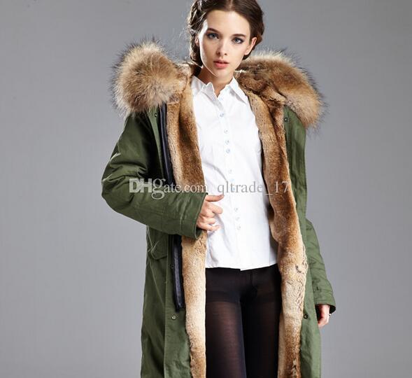 Women coats MEIFENG brand Khaki rabbit fur lining army green long parkas with raccoon fur collar 100% rabbit fur canvas jackets