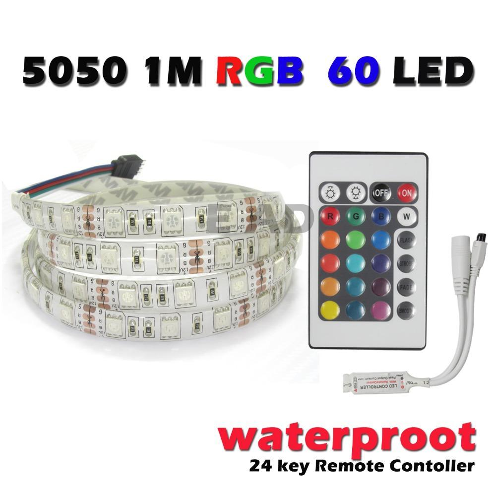 25ec206bb1e 1M 5050 SMD RGB 60 LED Flexible Strip Light Waterproof + Remote ...