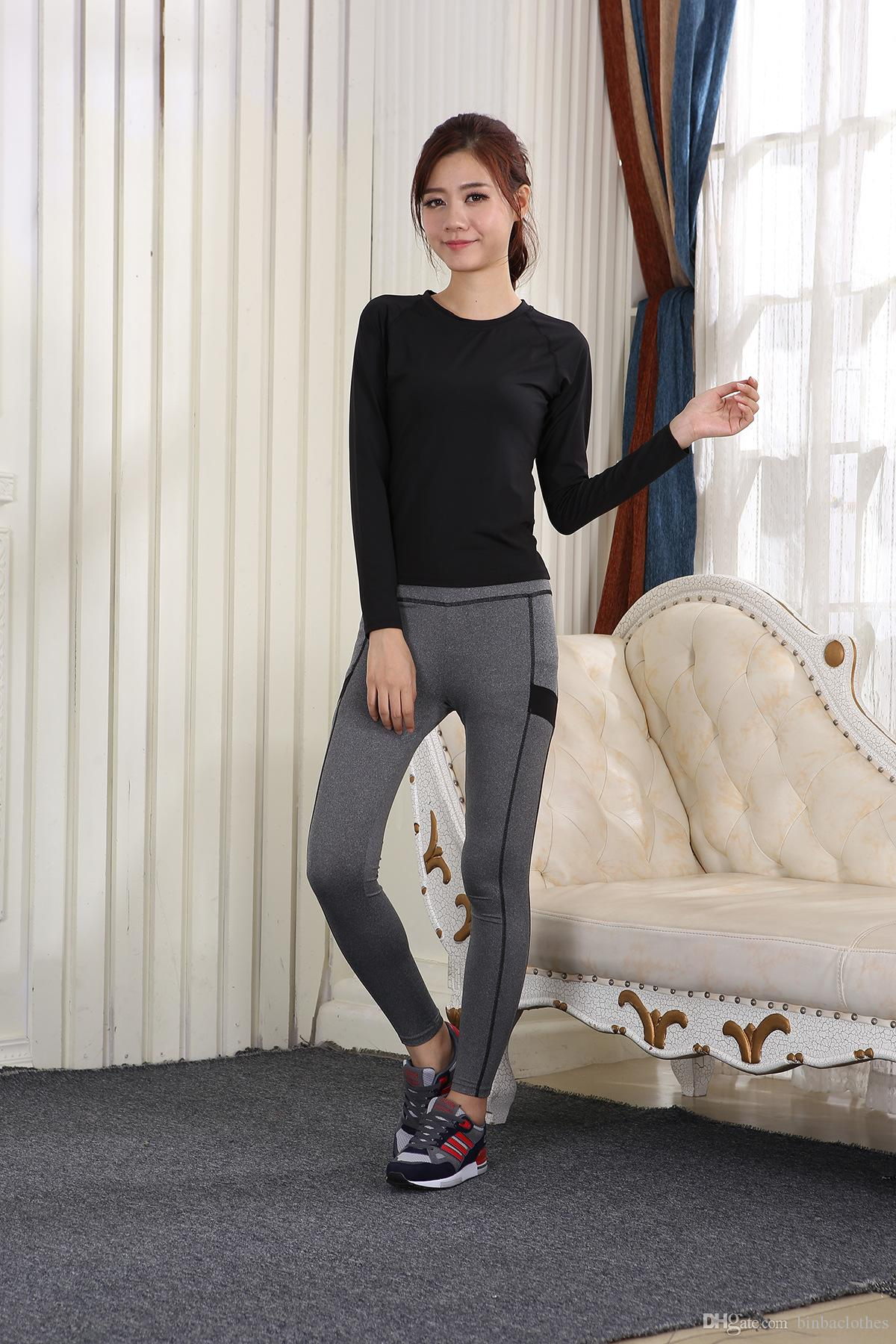 001aa0d88c Women Long-Sleeve Sportswear Set High Waist Yoga Pant Fitness ...
