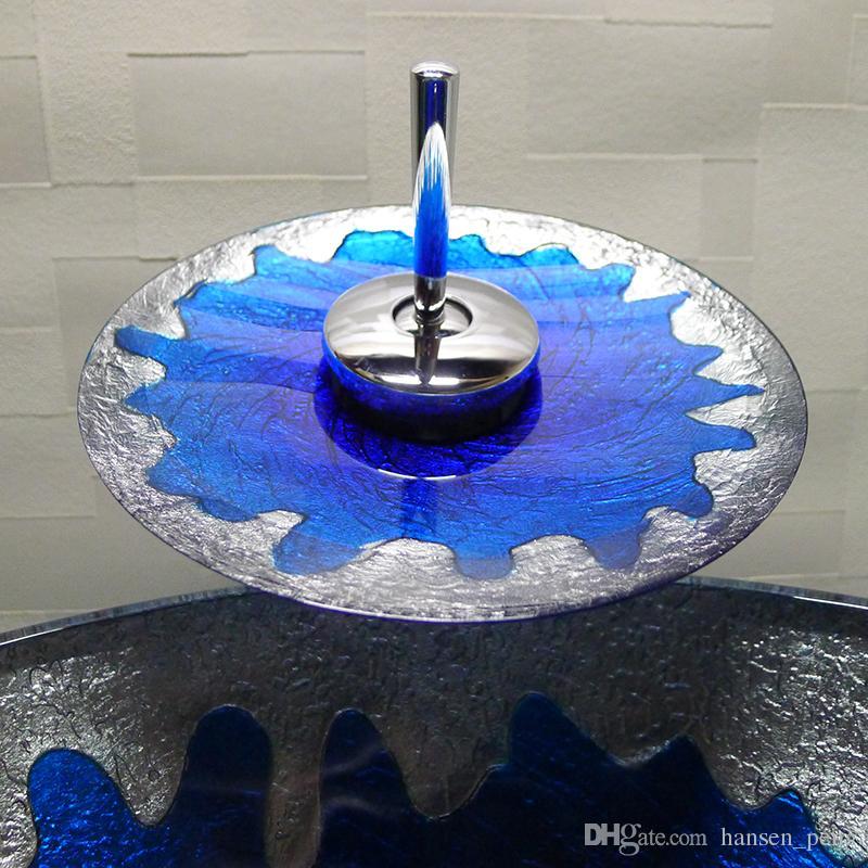 Ванная комната закаленное стекло раковина ручной работы столешница круглый бассейн умывальники гардероб шампунь сосуд чаша HX009