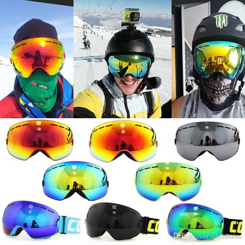 9149248b4 Compre Dupla Camada Grande Óculos De Neve Esféricos Óculos Ópticos  Compatível 100% Proteção Uv Anti Nevoeiro Óculos De Esqui Snowboard Óculos  De Proteção De ...
