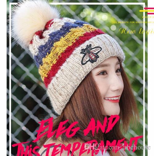 e77d90e5e1487 Hot Lady s Women s Winter Beanies Skull Caps Faux Fur Ball Beanie ...
