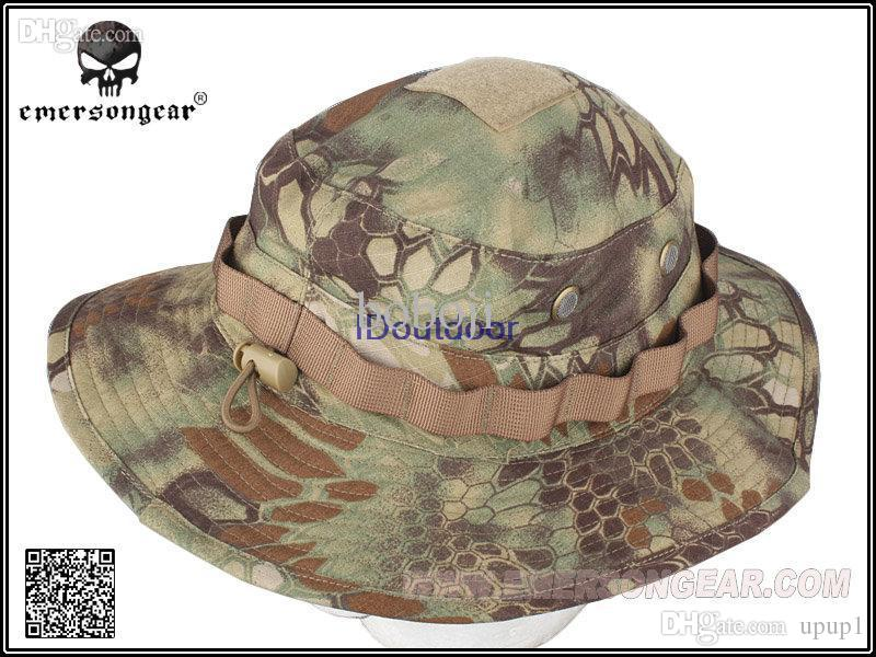 bb0beaad07c Wholesale EMERSON Boonie Hat Military Tactical Army Hat Anti Scrape Grid  Fabric Camouflage Hat Kryptek Mandrake EM8737 Cloche Hat Cool Hats From  Upup1