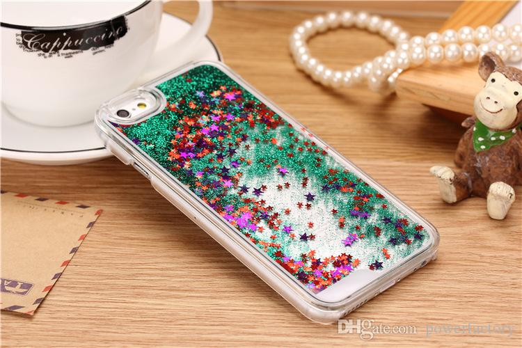 Glitter Bling Yıldız Dinamik Sıvı Sert PC Temizle Kristal Kılıf Arka Kapak iphone 7 5 S 6 6 S artı Galaxy S5 S6 S7 KENAR Not 3 4 5