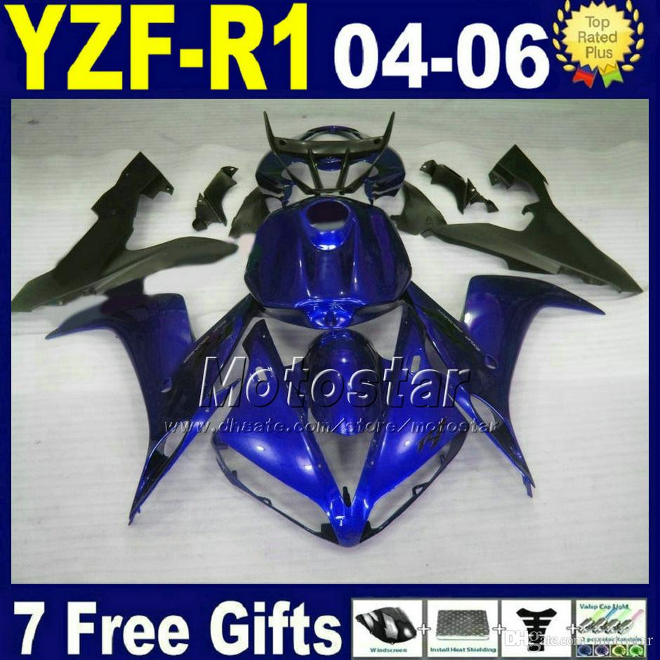 7gifts fairing kit لياماها R1 2004 2005 2006 أزرق أسود YZFR1 04 05 06 fairings 32AX Injection road bodywork set set