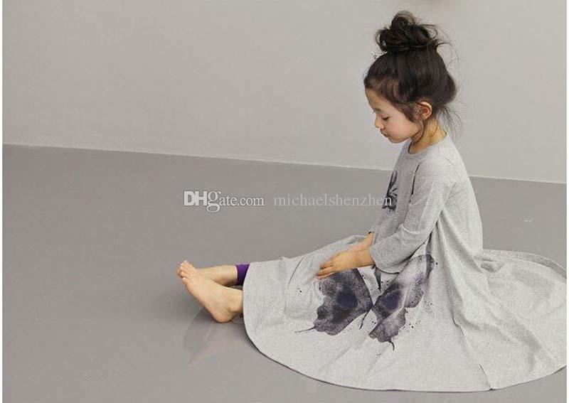 2014 autumn girls dresses, big butterfly casual bohemian children dress Korean ink painting skirt B001