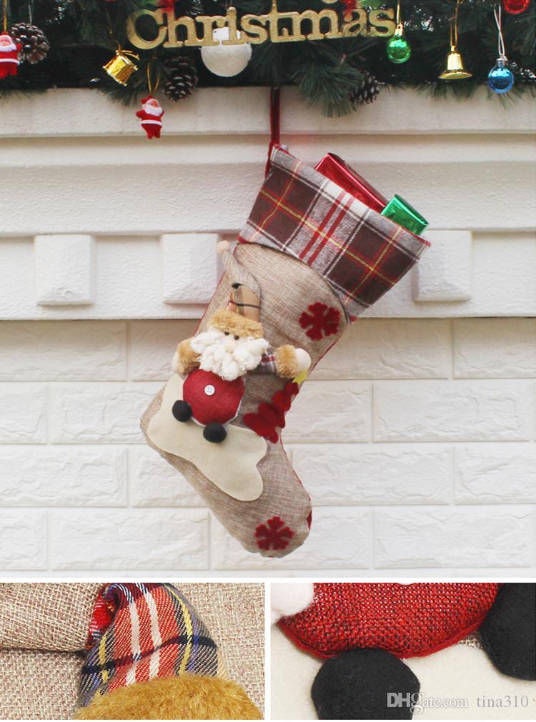 زينة عيد الميلاد ندفة الثلج الغزلان عيد الميلاد الجورب هدية كيس الحلوى أكياس التفاف التفاف جوارب طويلة الجوارب الحمراء احتفالي IB508