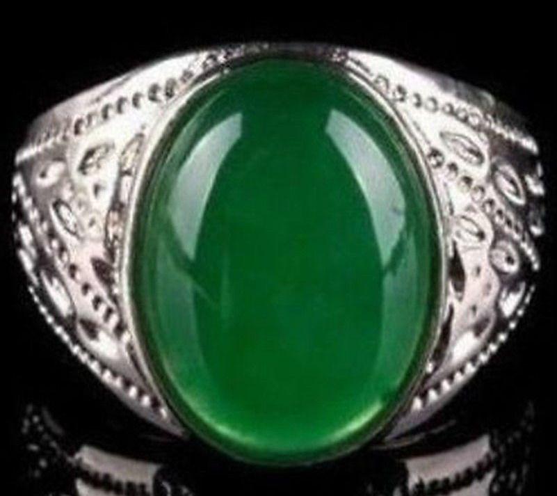 Beautiful fashion Tibet Silver Green Jade men's ring size 8, 9 ,10 ,11,12