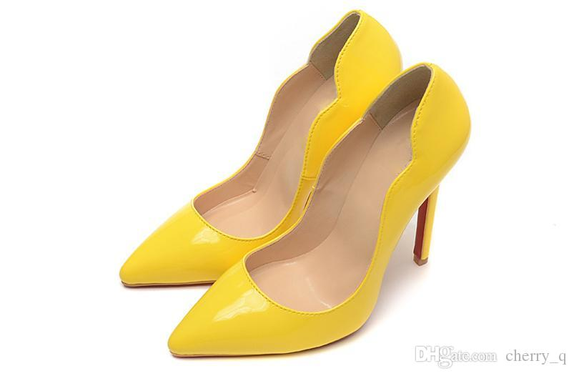 Yellow Heel Wave With Spikes Red Bottom High Heels Women Shoes 12cm Ladies Female Low Footwear Pumps Wedding Cheap For Men