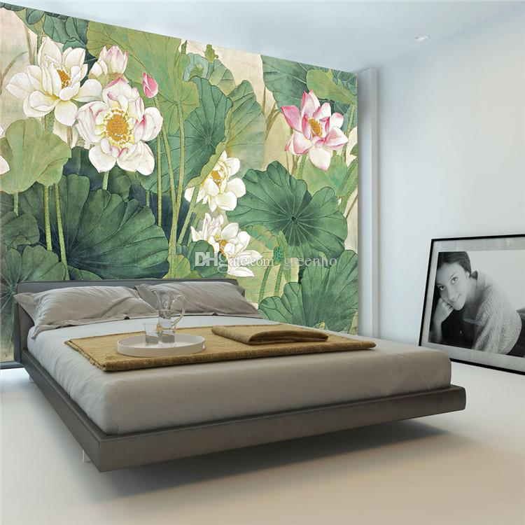 Elegant lotus painting photo wallpaper 3d flowers for Decor mural 3d