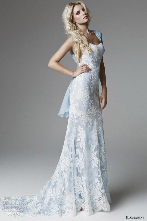 Compre Una Línea De Vestido De Boda Blanco Y Azul Vestidos De Novia ...