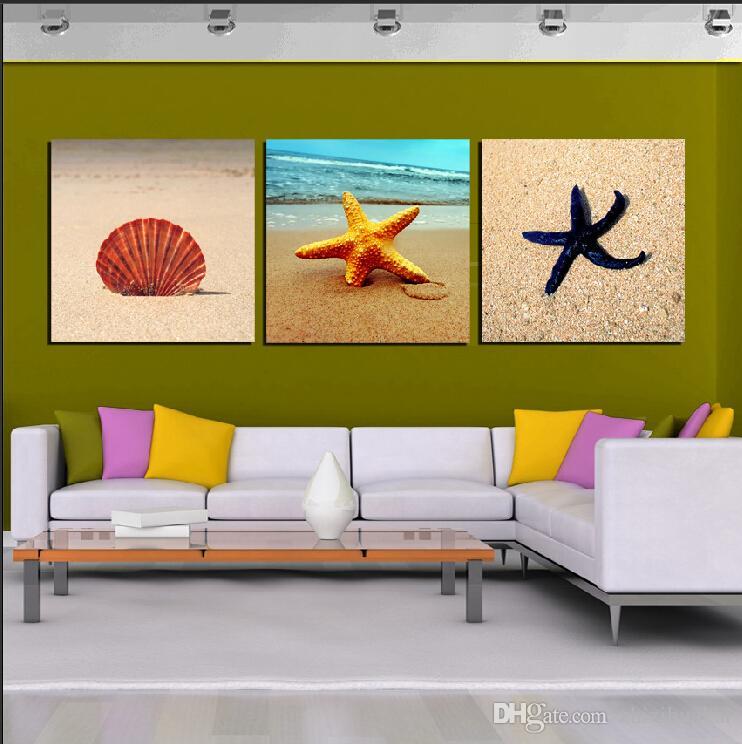 3 Parça Ücretsiz kargo Duvar Boyama Sanat Resim Tuval Baskı Boyayın Şarap Cam Lavanta fırıldak şakayık Denizyıldızı kabuk kumlu plaj ağacı