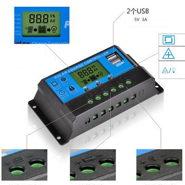 جودة عالية 30a 12 فولت -24 فولت شاشة lcd pwm الشمسية لوحة منظم المسؤول الشمسية تحكم الموقت usb شحن مجاني