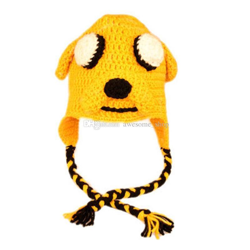 Novelty Puppy Hat,Handmade Knit Crochet Baby Boy Girl Cartoon Dog Hat,Kids Yellow Animal Hat,Newborn Infant Photography Prop
