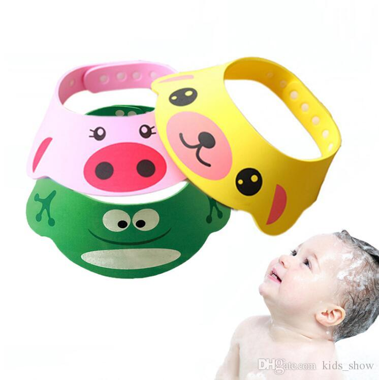 3 Style Colour Resizable Baby Shower Caps Cartoon Cute Childen EVA Matirial Shampoo Wash Hair For Kids