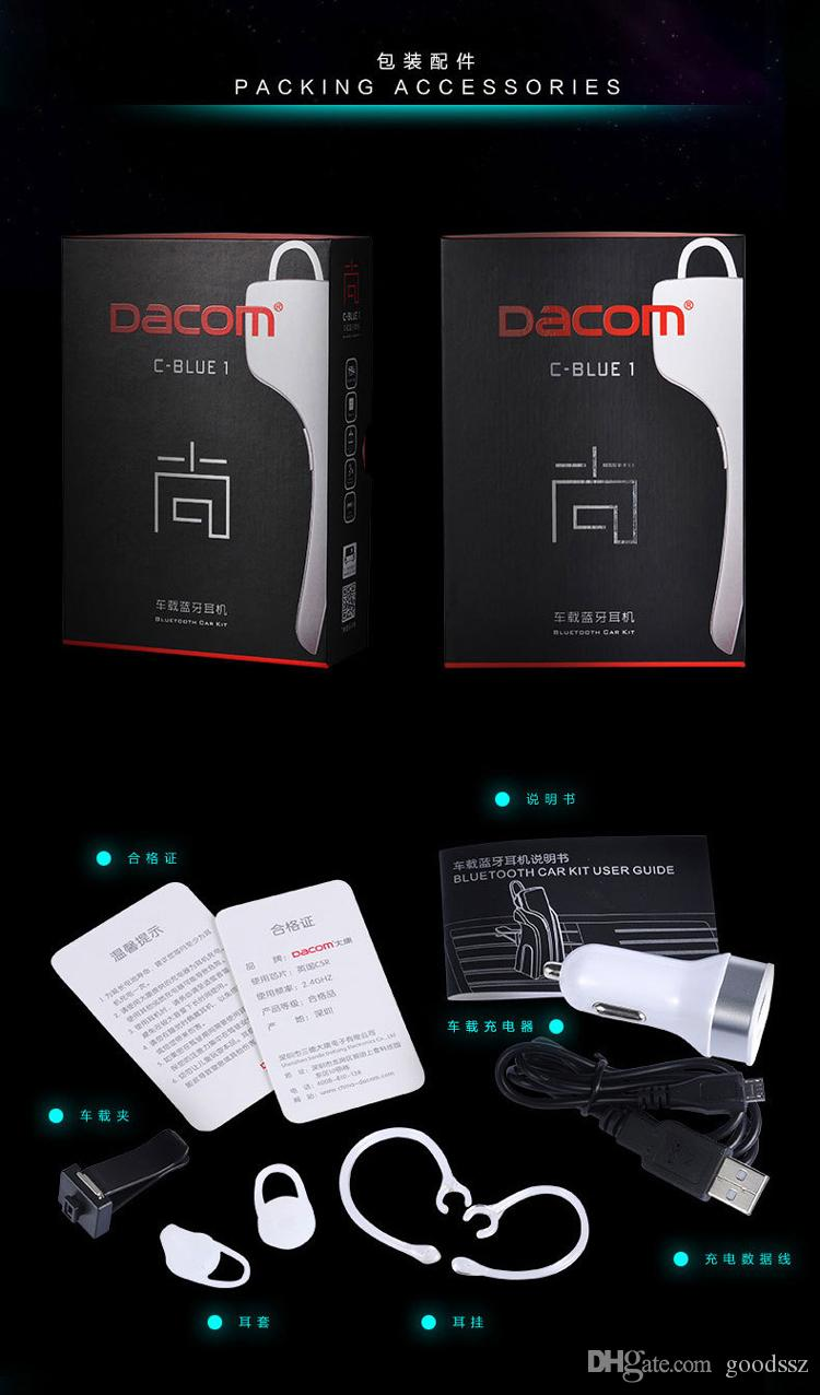 Dacom C-blue1 무선 블루투스 차량용 이어폰 지원 NFC iPhone 용 스테레오 핸디 프리셋 핸드폰