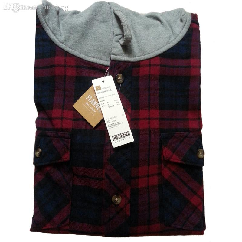 Best Wholesale 2016 Casual Flannel Shirt Hooded Plaid
