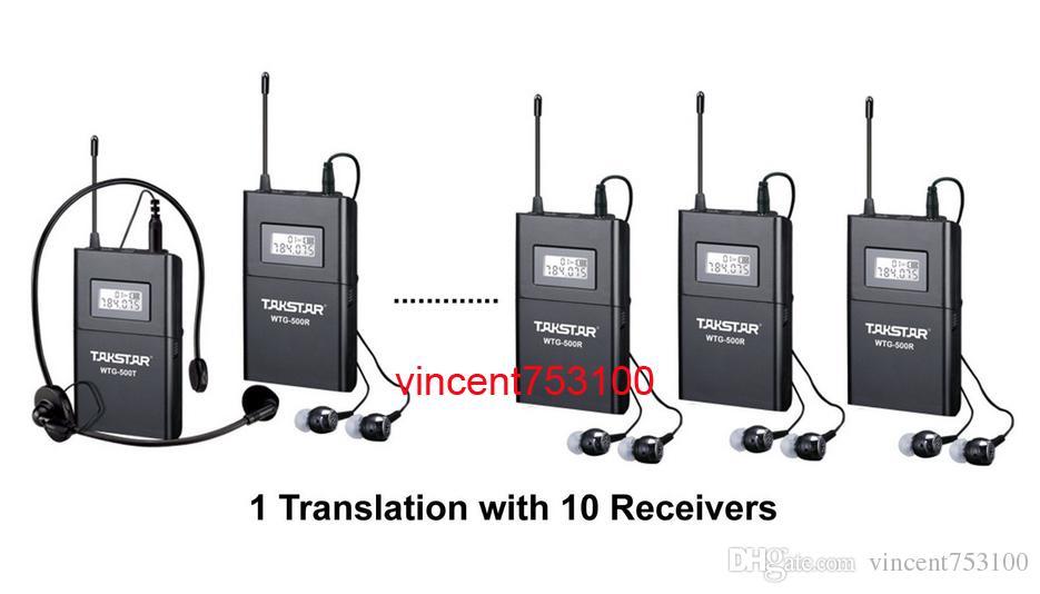 Sistema de transmisión acústica inalámbrica Takstar WTG-500 Tour Guiding Traducción simultánea Eduación audiovisual 1 transmisor 10 receptores