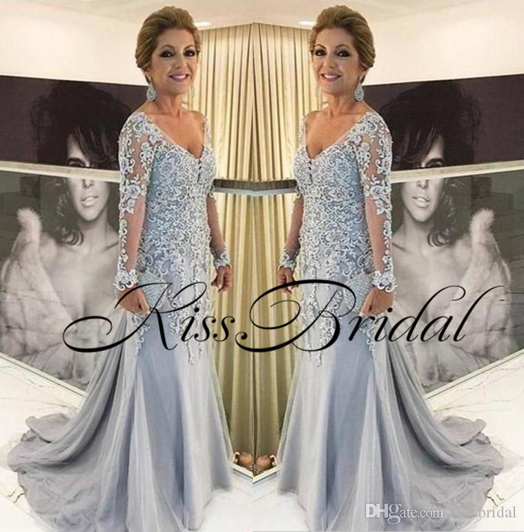 dd9f09999d1 Light Sky Blue 2018 Mother Of The Bride Dresses Long Sleeves Lace Formal Mother  Gowns Modest Beading Evening Dresses Mother Of The Groom Dresses For Beach  ...