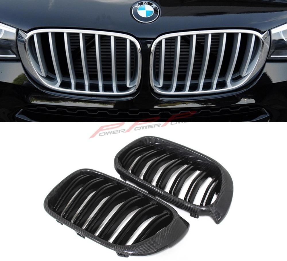Carbon Fiber and ABS Glossy Black Finish style Dual Slats Front Grilles For BMW X3 F25 X4 F26 2012 2013 2014 2015