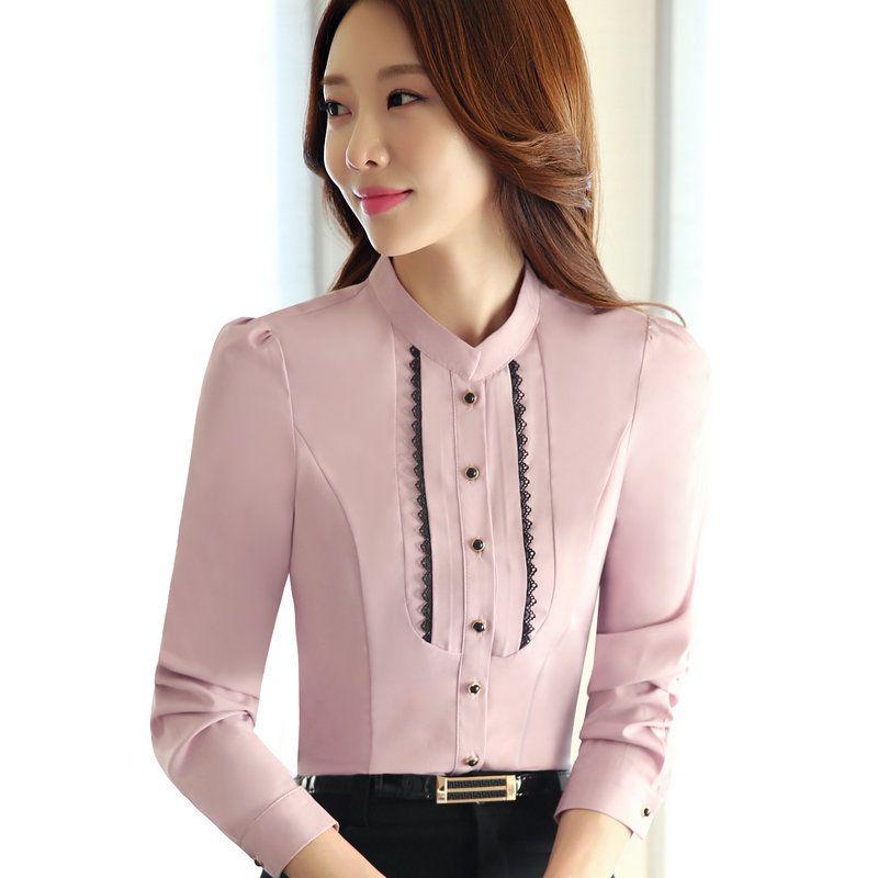 62ad52979 Compre Nueva Moda Mujer Ropa Camisa Delgada Tops Blusas De Gasa De Manga  Larga Para Todo El Partido Formal Damas De Oficina Más Tamaño Ropa De  Trabajo ...