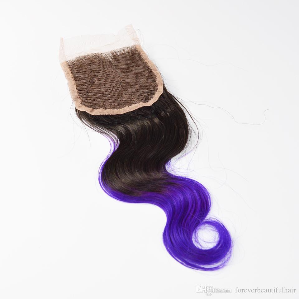 Brazilian Body Wave Ombre Lace Closure, 1b Purple Free Part Brazilian Lace Closure,4x4 Omrbe Lace Closure