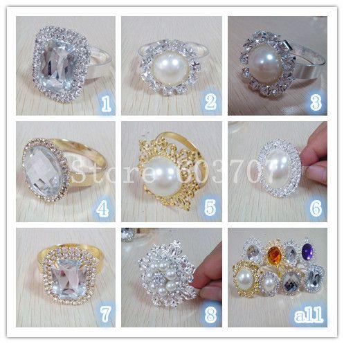 A 2 Layer Vintage Acrylic Diamond Napkin Ring Gold/Silver For Choice