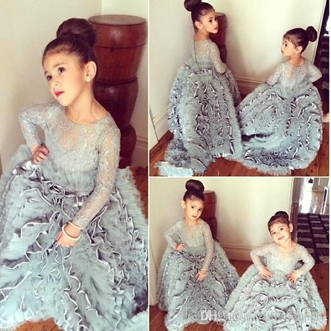 2018 New Pretty Flower Girls Dresses Ruched Tiered Grey Puffy Girl Dresses for Wedding Party Gowns Plus Size Pageant Dresses Sweep Train