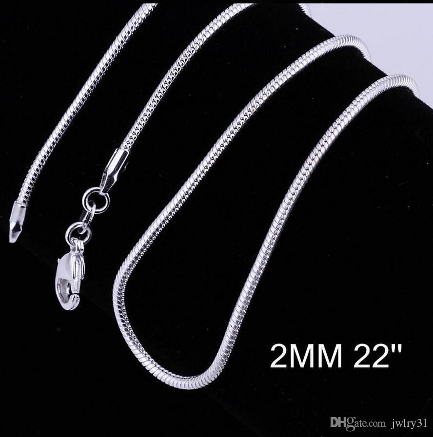 Grandes promociones! Plata esterlina 925 collar de cadena de la serpiente lisa broches de langosta joyería de cadena 2 mm 16-24 pulgadas tamaño de la mezcla joyería del collar del encanto