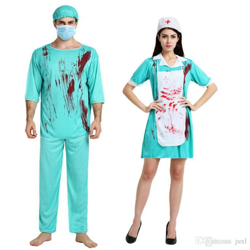 167ea53a0cfa Grazie per la vostra comprensione. 2018 Nuovi Adulti Chirurgia Medico  Infermiera Sanguinosa Costume Uomini Donne Cosplay Uniforme Halloween  Carnevale ...