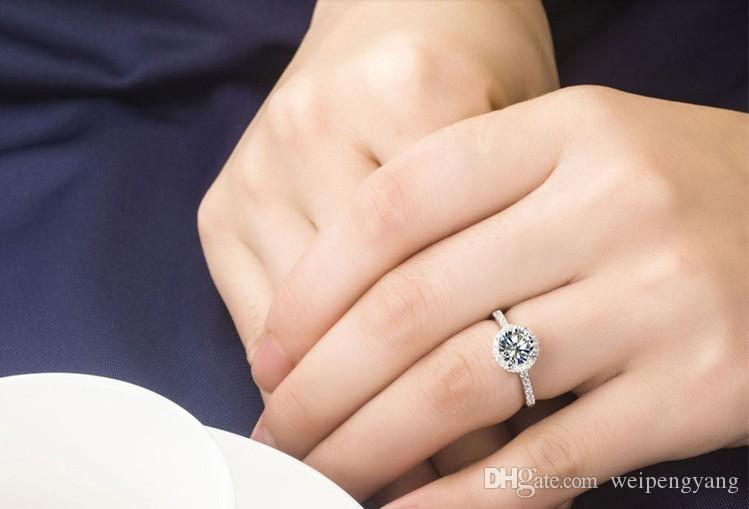 ForLove Two Gifts Luxury Simulated CZ Diamond Genuine 925 pure Sterling Silver rings for womensimulated diamond ring