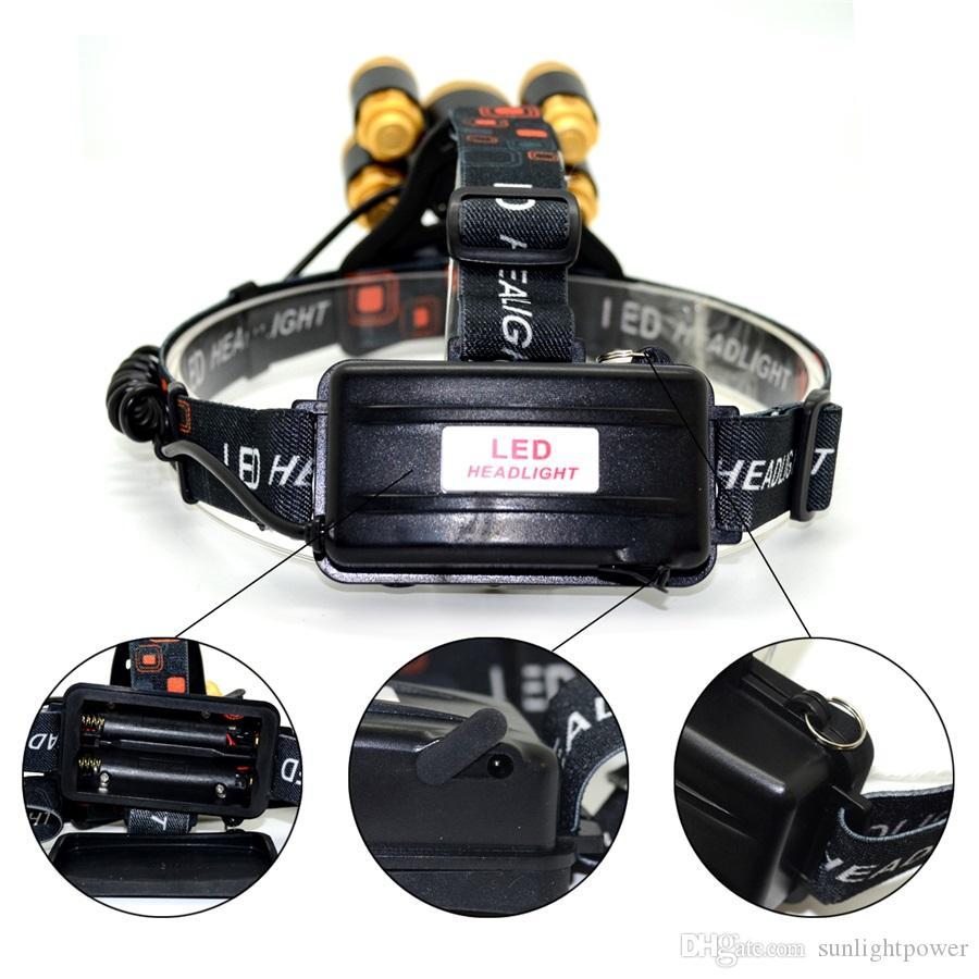 T6 + XPE LED Far 16000lm Zumlanabilir 5 leds Far Tüp Torch Dış Aydınlatma için LED El Feneri Araç Şarj Pilleri