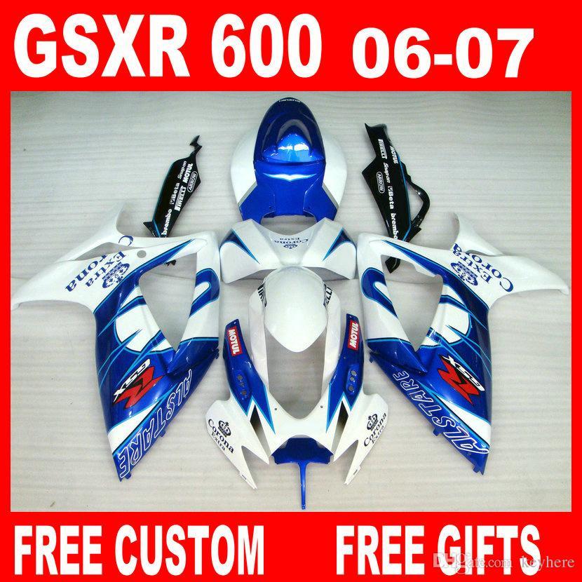 Injektionsfeedningssats för Suzuki GSXR600 GSXR750 Fairing K6 100% Fit 2006 2007 GSXR 600 GSX-R600 R750 06 07 Anpassad vilken färg som helst